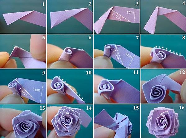 Фото как сделать розу из бумаги