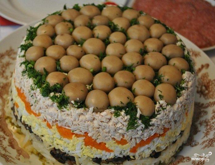 Салат грибная поляна пошаговый