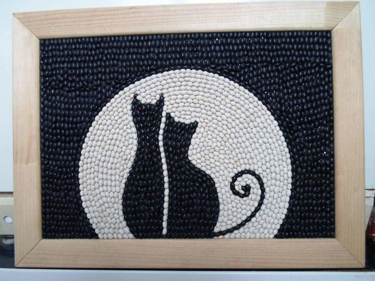 Кошка поделка из фасоли