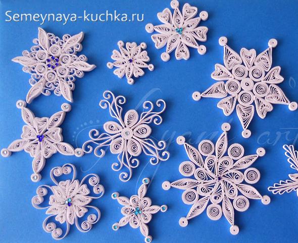 Снежинки из бумаги квиллинг своими руками