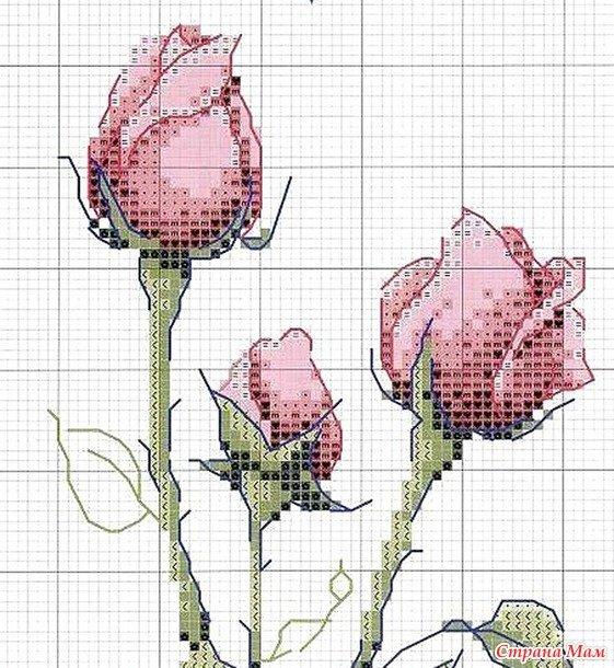 Розы. схемы для вышивки крестом 637