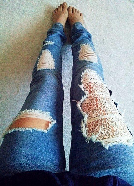 Гипюр на джинсах своими руками 157