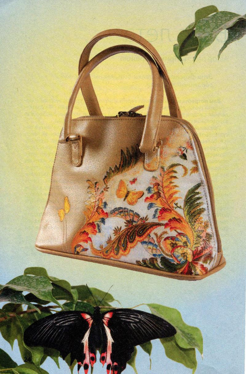 Декупаж на кожаной сумке