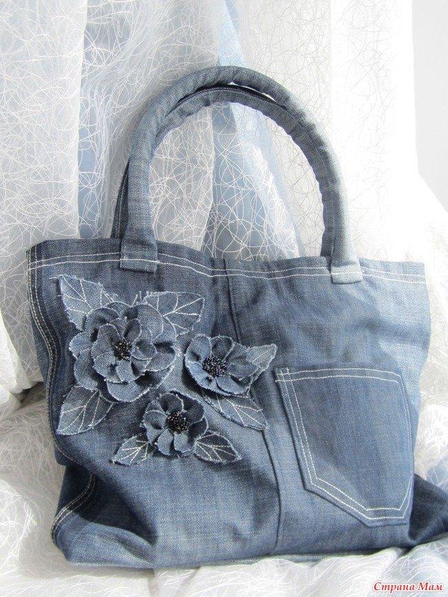 Декорирование джинсовой сумки своими руками 65