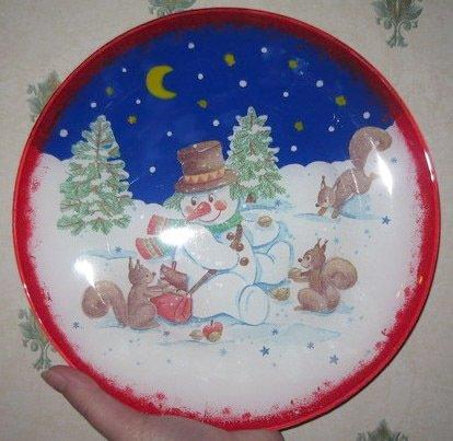 Декупаж тарелок на новый год