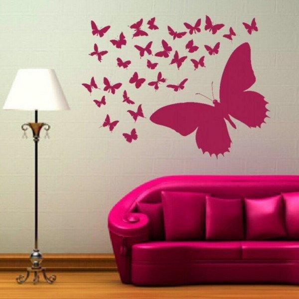 Как нарисовать бабочек на стене