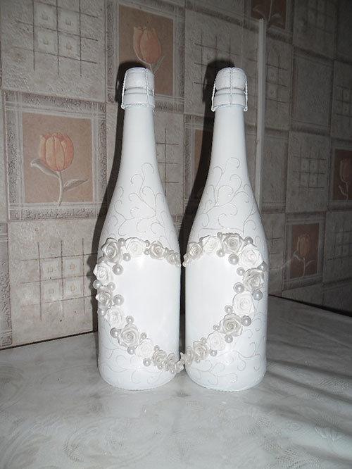 Шампанское на свадьбу оформление лентами фото