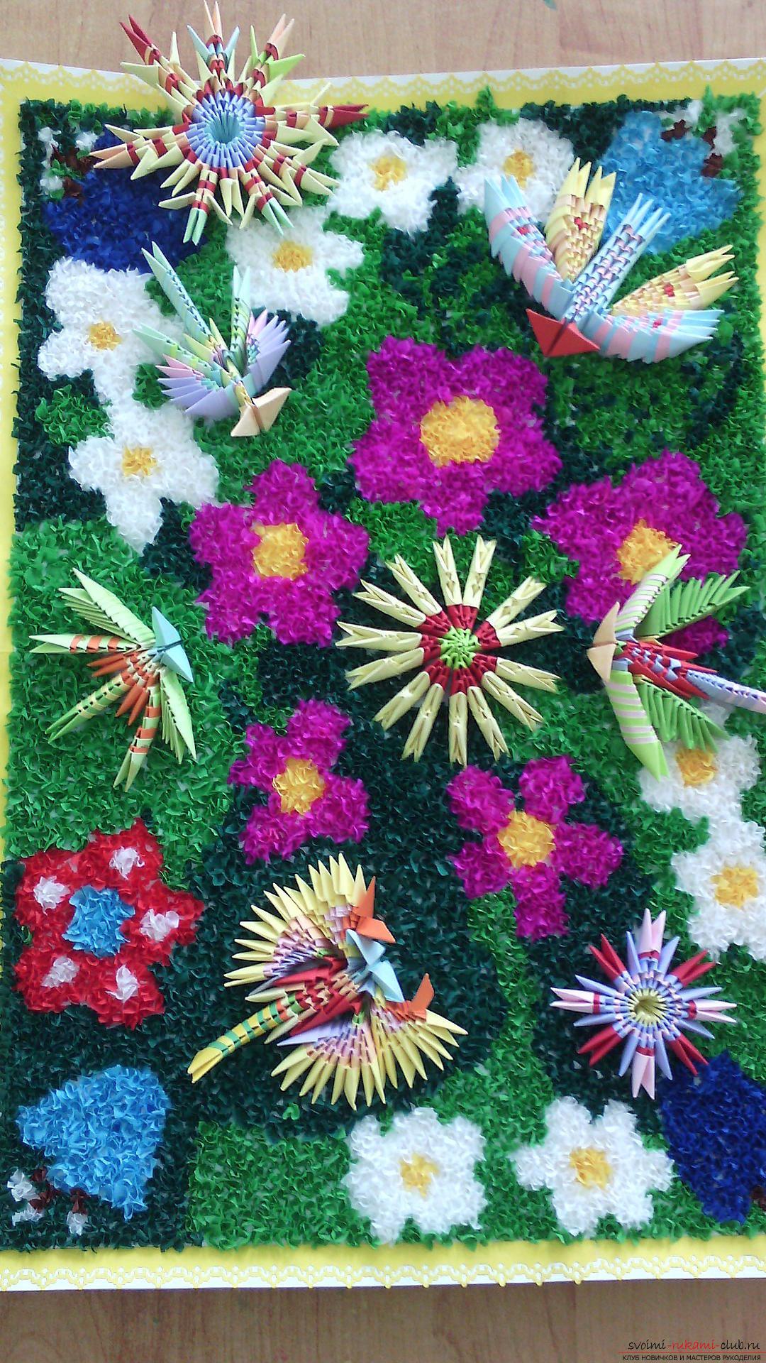Модульное оригами-цветы и букашки своими руками