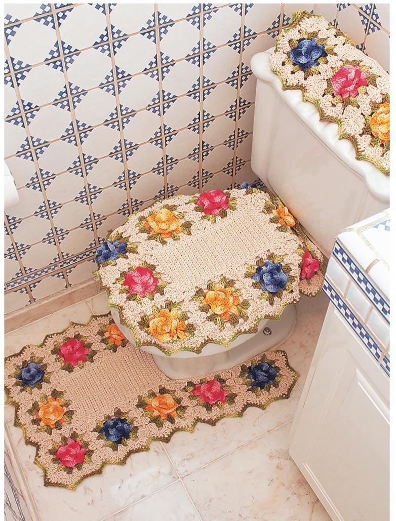 Вязаный коврик для ванной своими руками