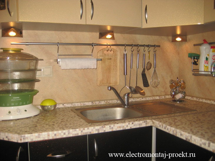 Монтаж подсветки для кухни своими руками