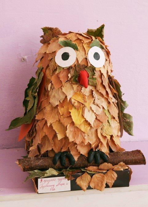 Сделать сову из листьев своими руками 1154