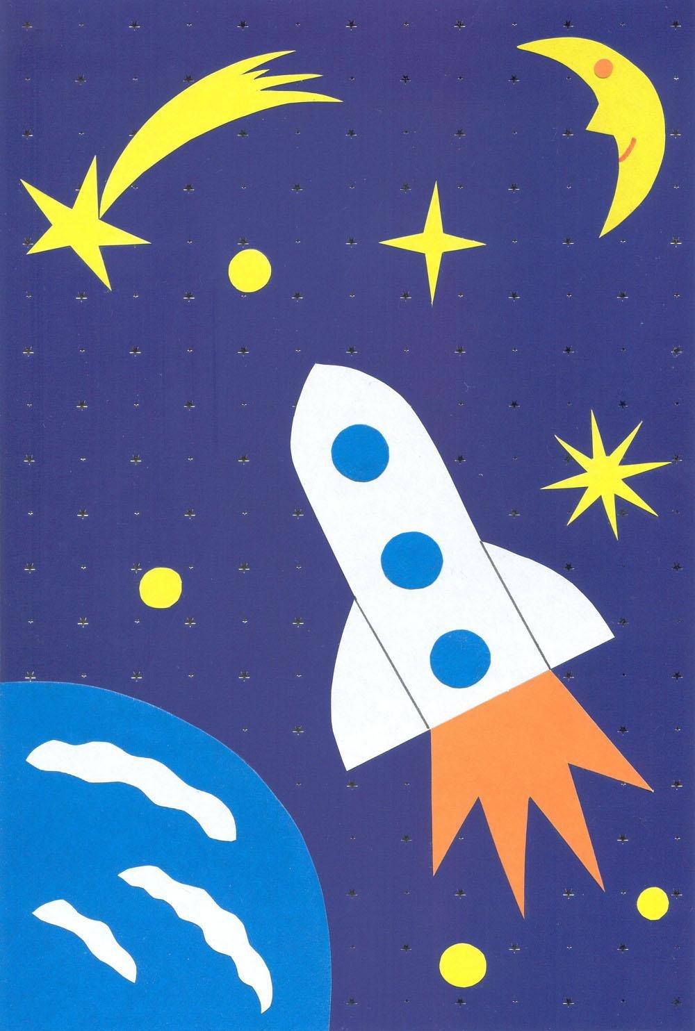 Рисунок ко дню космонавтики в детский сад своими руками