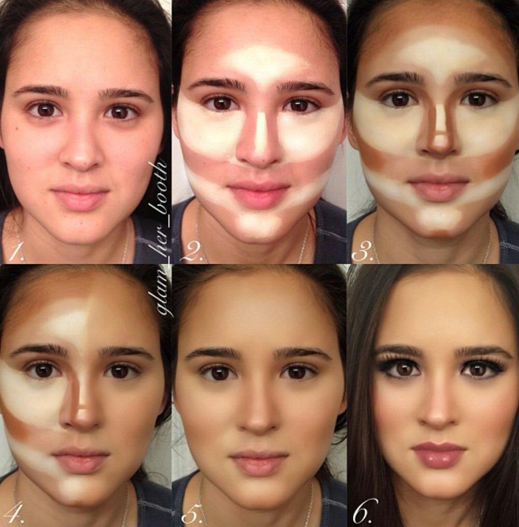 Фото коррекции лица макияжем