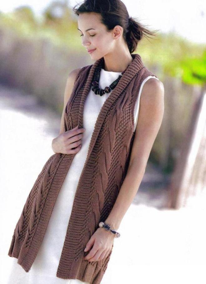 Длинная безрукавка вязан