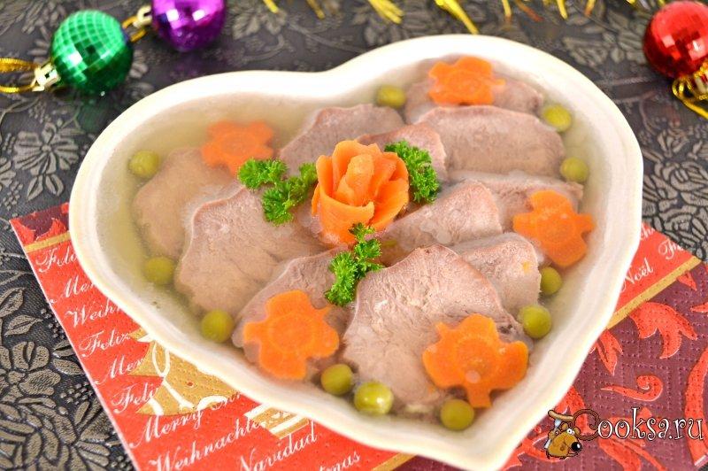 Язык свиной приготовления заливное из