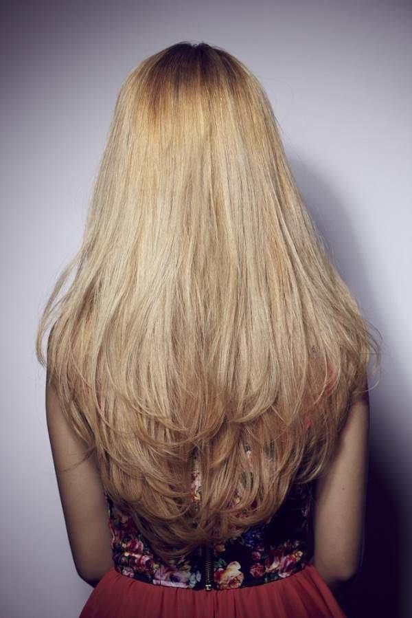 Стрижка в две длины на длинные волосы