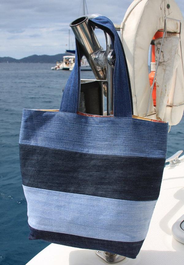 Пляжные сумки из джинсов своими руками