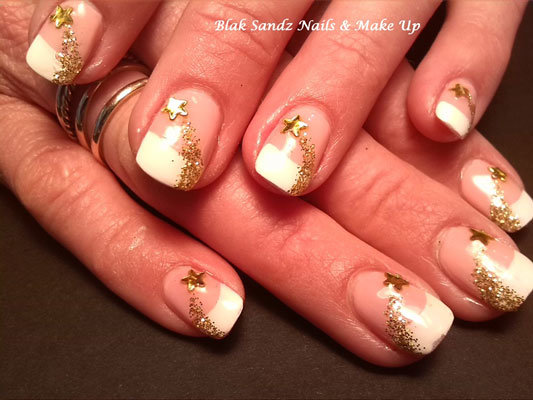 Френч звезды на ногтях