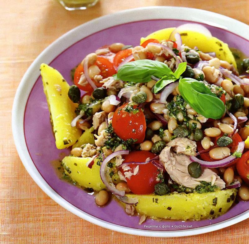 Теплый салат с фасолью рецепт с