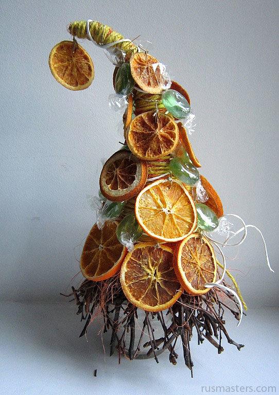 Как сделать елку из апельсинов своими руками