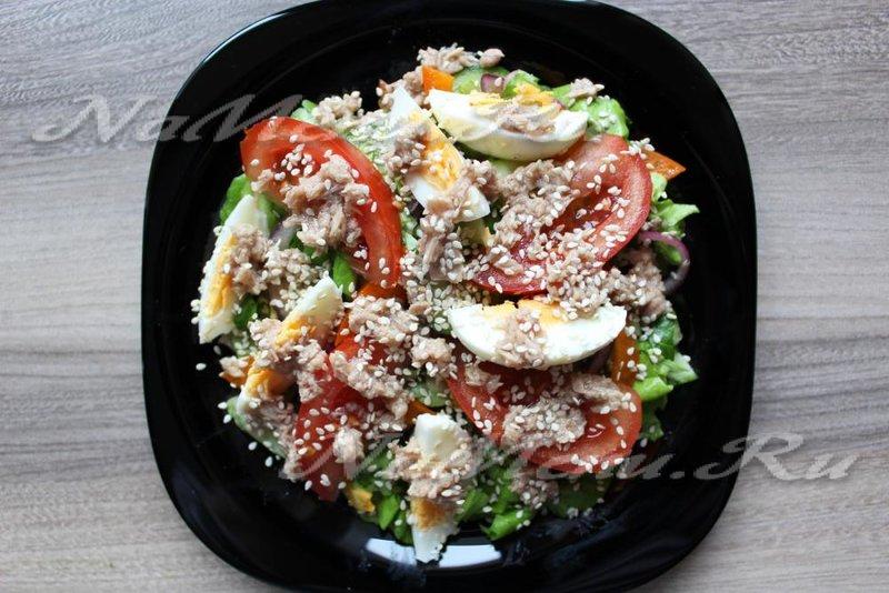 Салат из тунца без майонеза пошаговый рецепт