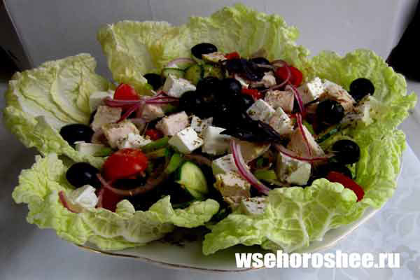 Салат греческий классический рецепт с курицей с пошаговым