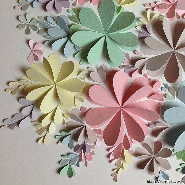 Бумажные цветы своими руками на стену и 12