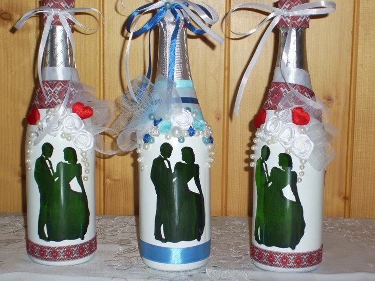 Бутылки шампанского декор своими руками фото