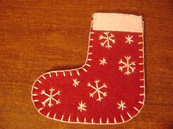 Носок рождественский как сделать