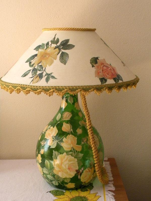 Декупаж абажура лампы настольной 154