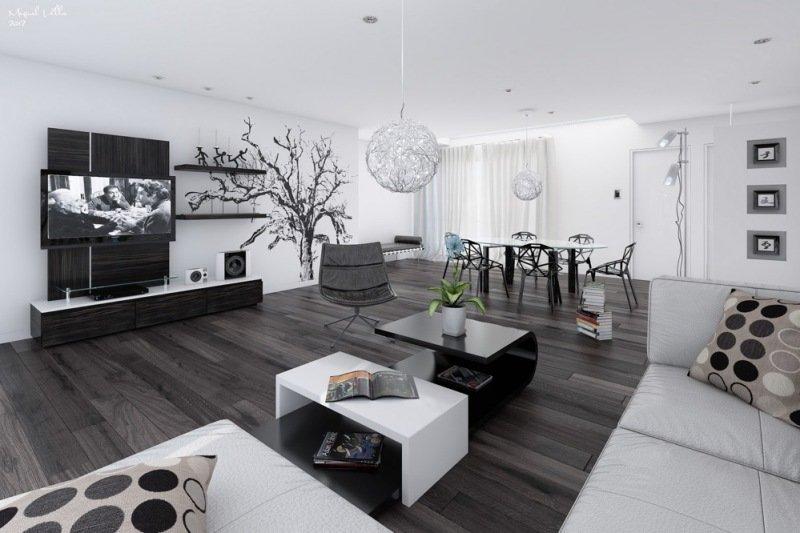 Фото интерьер гостиной в черно-белых тонах