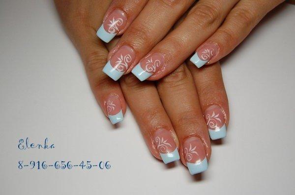 Голубые ногти френч