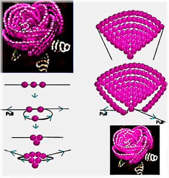 Как сделать розу из бисера схема