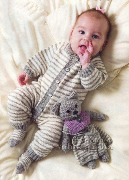 Вязание комбинезонов на малышей 80