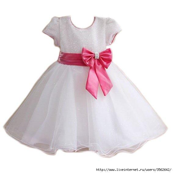 Платье с розовым бантом