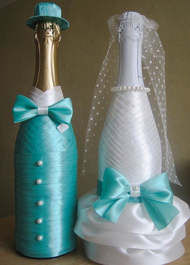 Украшение бутылок к свадьбе фото