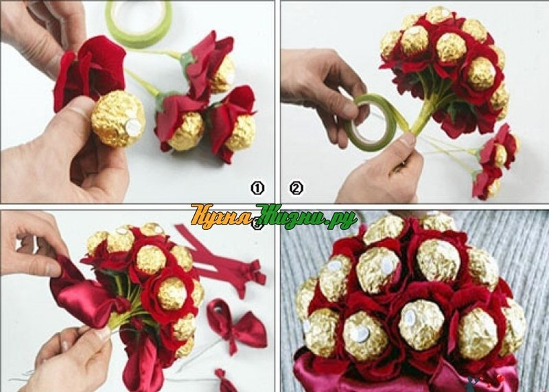 Подарок на день рождения своими руками цветы из конфет