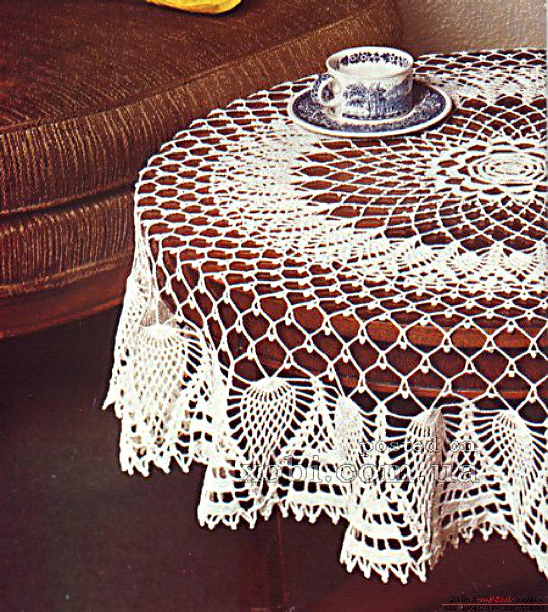 Техника вязания крючком прямоугольной скатерти на стол