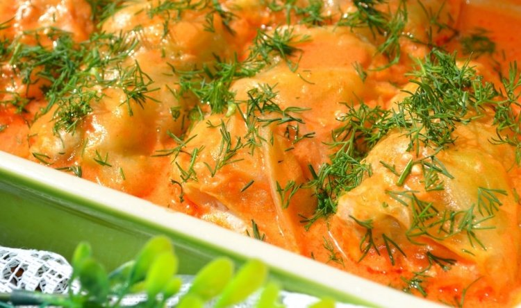 Голубцы в духовке в сметанном соусе рецепт пошагово с в
