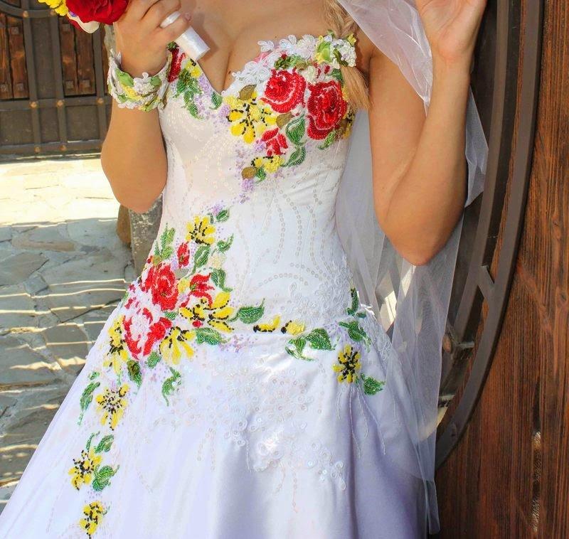 Вышивка лентами свадебное платья