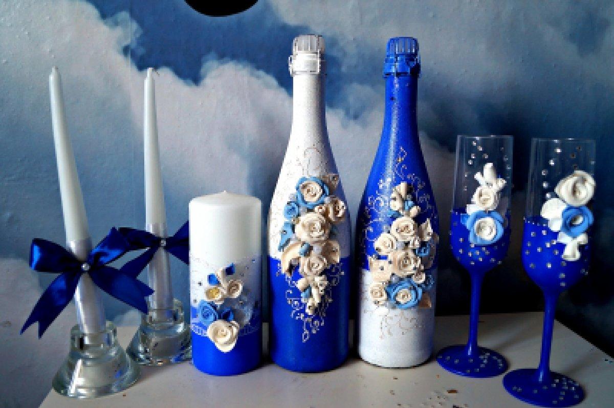 Как украсить бутылки для шампанского на свадьбу своими руками