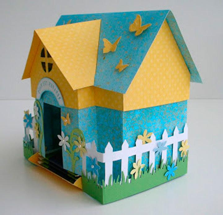 Как сделать дом поделку из картона 53