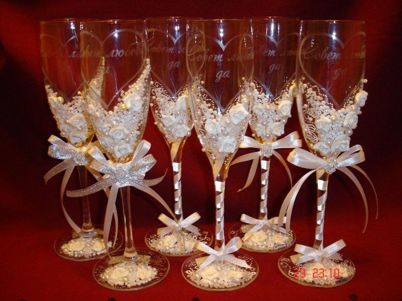 Оформление свадебных бокалов своими руками с фото 663