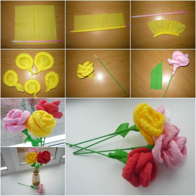 Как сделать своими руками розы из салфеток пошаговые инструкции 50