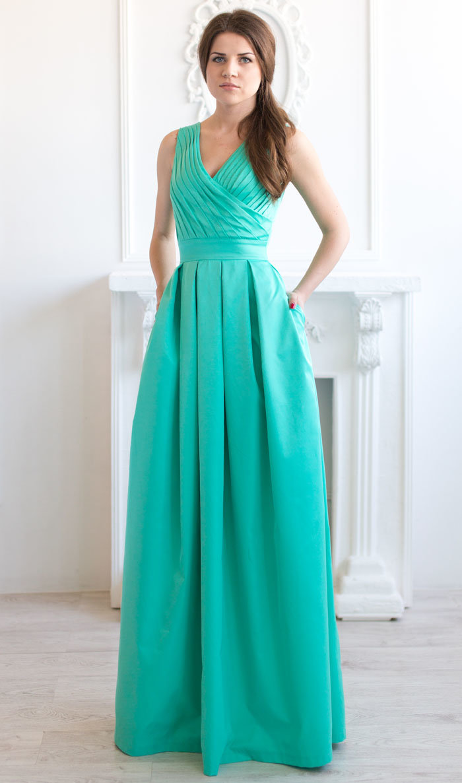 Фото мятное платье в пол 4