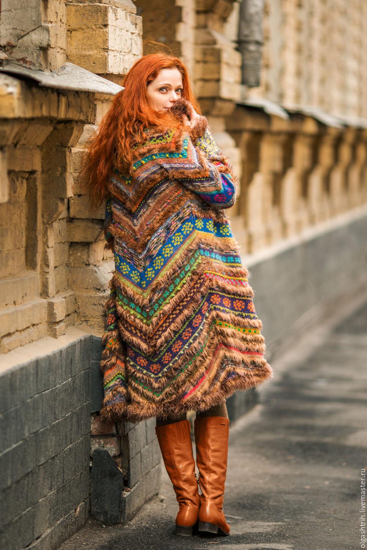 Вязание пальто в стиле бохо