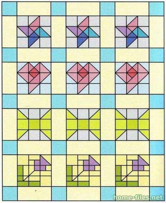 Схемы для лоскутного одеяла своими руками 97