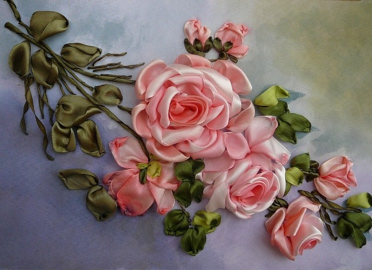 Вышивка лентами композиции из роз