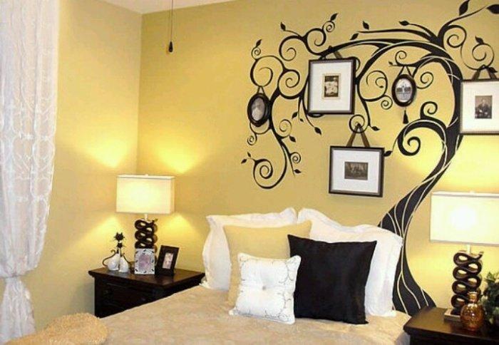 Рисунок на стене в спальне варианты
