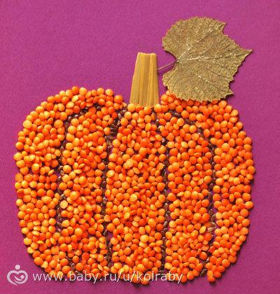 Осенние поделки из бобовых своими руками 95